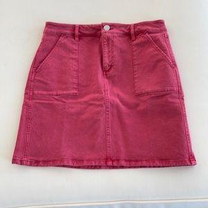 Loft Red Denim Skirt